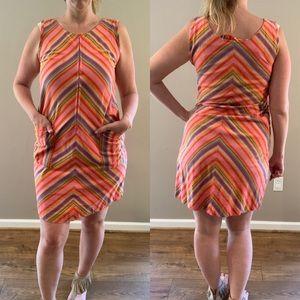 Vintage Dresses - Vintage 60s Rainbow Stripe Shift dress w/ Pockets